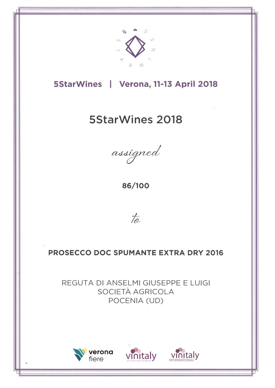5StarWines 2018 premia il Prosecco Reguta