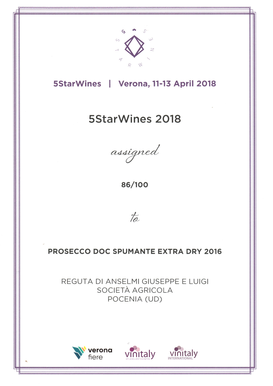 5StarWines 2018 rewards Prosecco Reguta